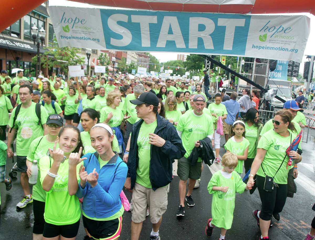 The Hope in Motion Walk & Run in downtown Stamford, Conn., on Sunday, June 5, 2016. Proceeds from the event benefit the Bennett Cancer Center.