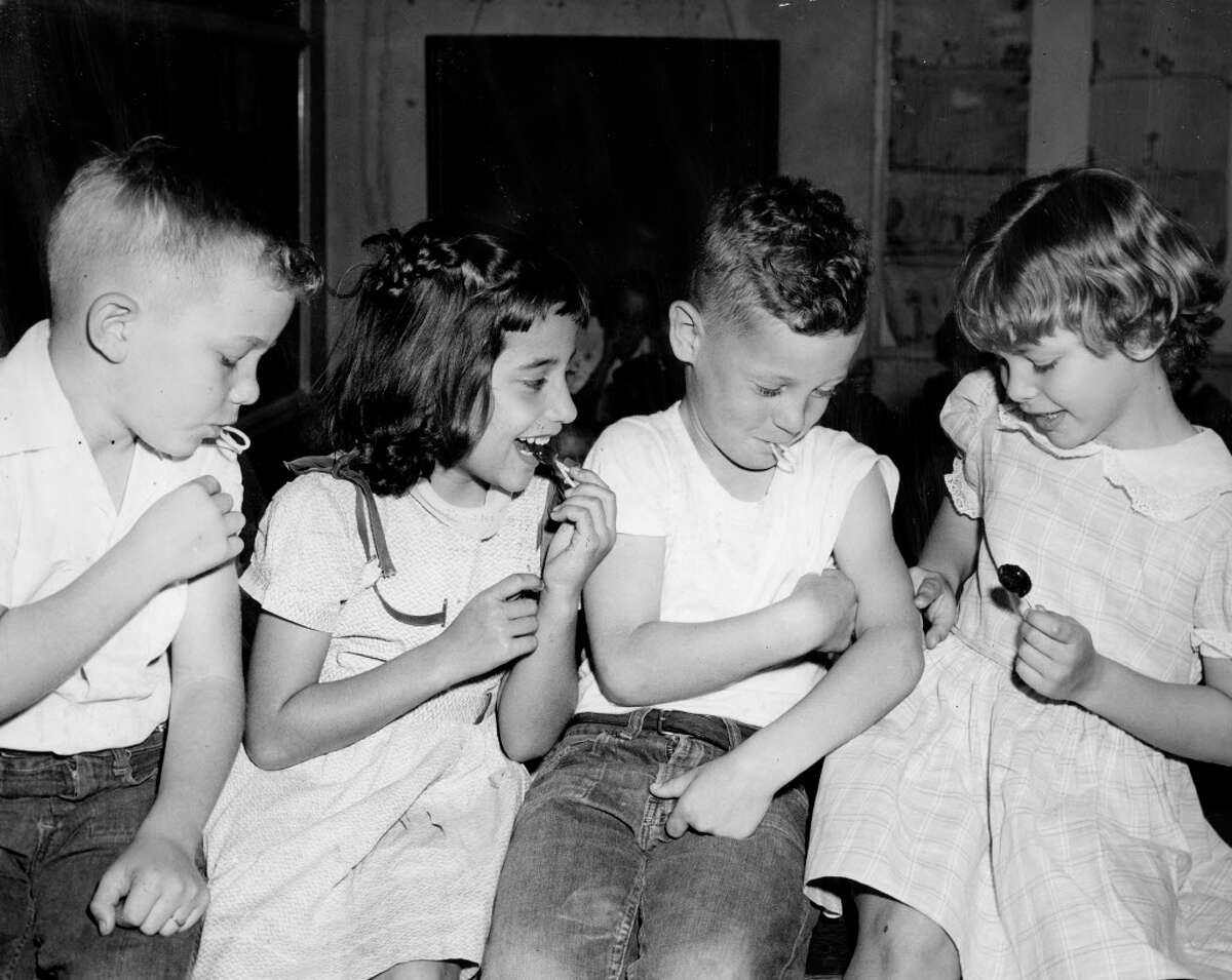Houston children after receiving the Salk polio vaccine, April 1955.