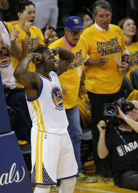 Golden State Warriors' Draymond Green makes reacts in the second quarter during Game 2 of the NBA Finals at Oracle Arena on Sunday, June 5, 2016 in Oakland, Calif.