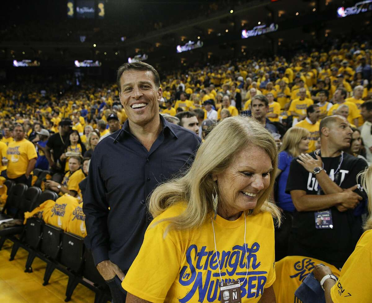 Tony Robbins is seen in the crowd before Game 2 of the NBA Finals at Oracle Arena on Sunday, June 5, 2016 in Oakland, Calif.