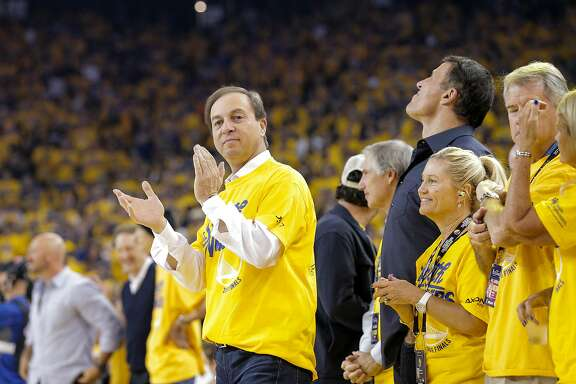 Joe Lacob is seen before Game 2 of the NBA Finals at Oracle Arena on Sunday, June 5, 2016 in Oakland, Calif.