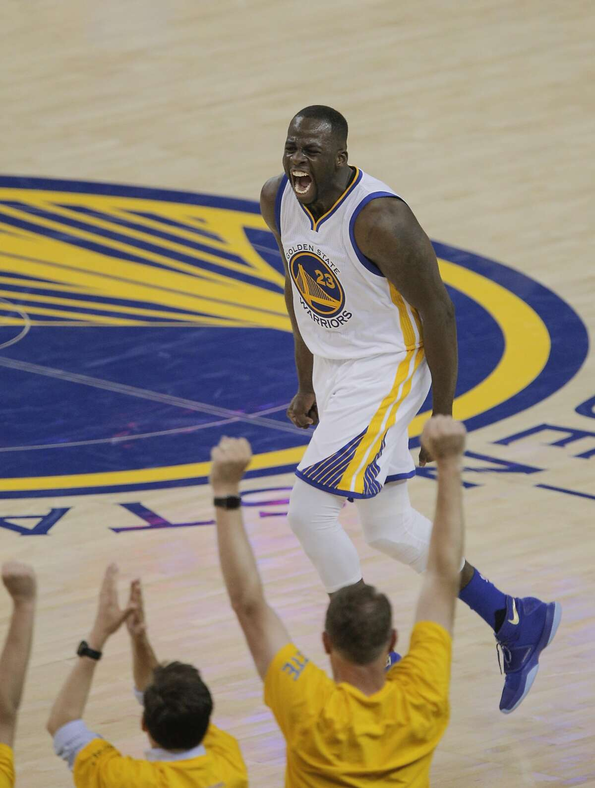 Golden State Warriors' Draymond Green reacts in the second quarter during Game 2 of the NBA Finals at Oracle Arena on Sunday, June 5, 2016 in Oakland, Calif.