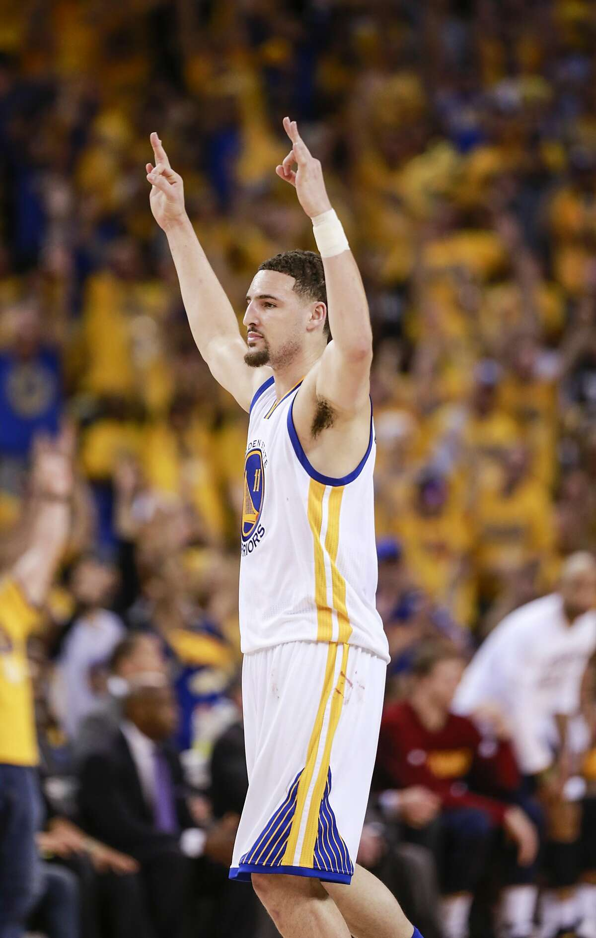Golden State Warriors' Klay Thompson reacts in the third quarter during Game 2 of the NBA Finals at Oracle Arena on Sunday, June 5, 2016 in Oakland, Calif.