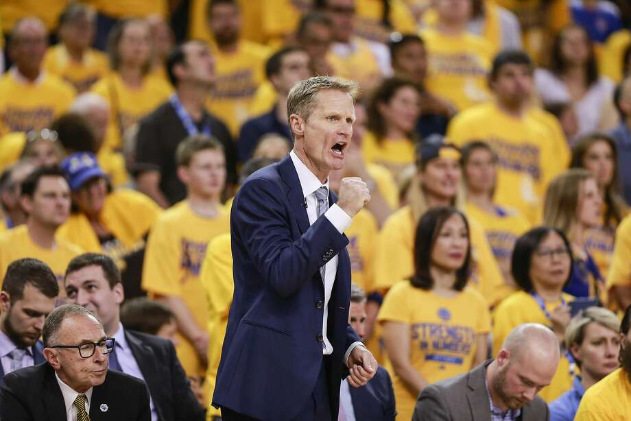 Golden State Warriors' Coach Steve Kerr reacts in the third quarter during Game 2 of the NBA Finals at Oracle Arena on Sunday, June 5, 2016 in Oakland, Calif. Photo: Michael Macor, The Chronicle
