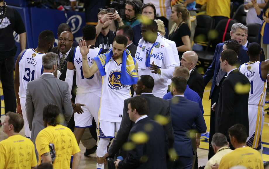 The Warriors celebrate Sunday's win over the Cleveland Cavaliers. Tickets cost more last year because the Warriors hadn't been in the Finals in decades. Photo: Michael Macor, The Chronicle