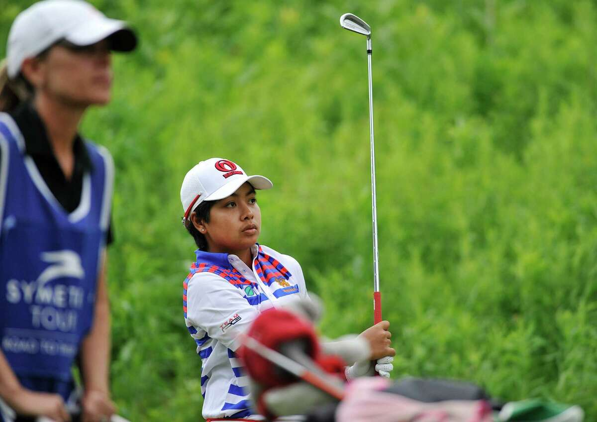 Pavarisa Yoktuan of Thailand watches her shot off the 18th tee during the final round of the $125,000 Fuccillo Kia Championship, at Symetra Tour event at Capital Hills at Albany course on Sunday, June 5, 2016, in Albany, N.Y. (Paul Buckowski / Times Union)