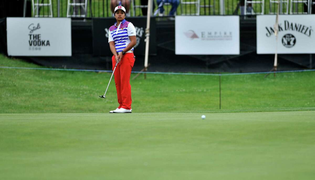 Pavarisa Yoktuan of Thailand watches her putt come up short on the 18th green during the final round of the $125,000 Fuccillo Kia Championship, at Symetra Tour event at Capital Hills at Albany course on Sunday, June 5, 2016, in Albany, N.Y. (Paul Buckowski / Times Union)