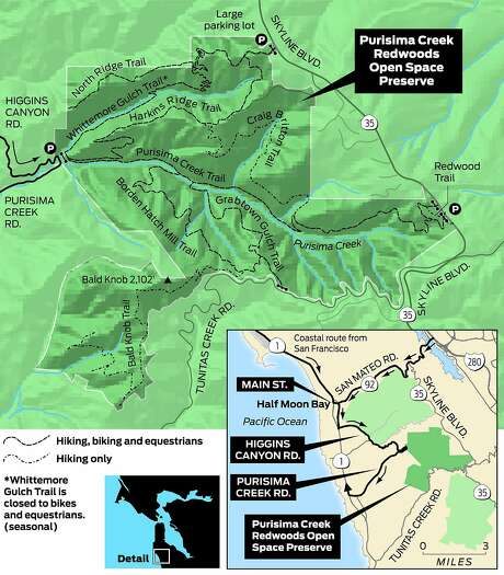 Map of Purisima Creek Redwoods Open Space Preserve Photo: Tom Stienstra, John Blanchard / The Chronicle