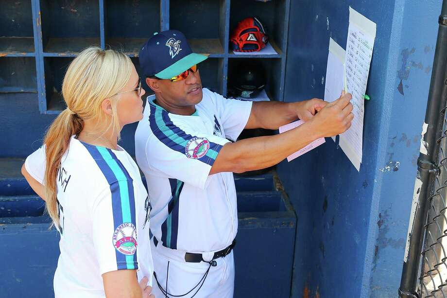 BRIDGEPORT, CT - MAY 29:  Jennie Finch speaks with Manager Luis Al. Rodriguez #9 prior to Guest Managing the Bridgeport Bluefish against Southern Maryland Blue Crabs at The Ballpark at Harbor Yards on May 29, 2016 in Bridgeport, Connecticut. Jennie Finch is the first woman to manages a men's independent league baseball game.  (Photo by Mike Stobe/Getty Images) Photo: Mike Stobe / Getty Images / 2016 Getty Images