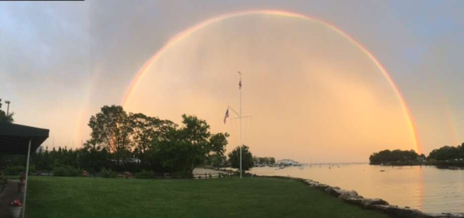 A double rainbow Sunday evening over the Greenwich Boat and Yacht Club Photo: Contributed Photo / Michael Curley