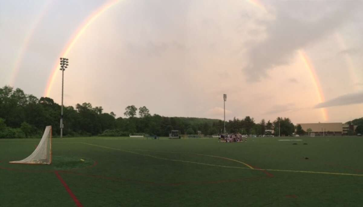 Double rainbows spotted as the Wilton girls lacrosse team practices for Class L semi-finals vs. Darien.