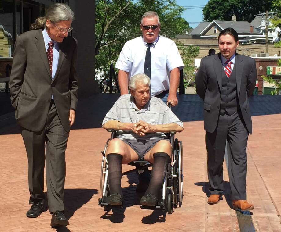 Attorney Norman Pattis, left, appeared Monday morning in state Superior Court in Danbury with Sherman resident Robert Stackowitz, in a wheelchair. Stackowitz escaped from a Georgia prison camp in 1968. Photo: /