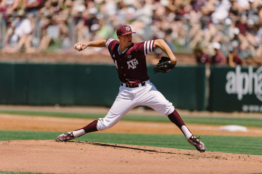 Texas A&M pitcher Kyle Simonds in action last month. Photo: Thomas Campbell /Texas A&M Athletics.