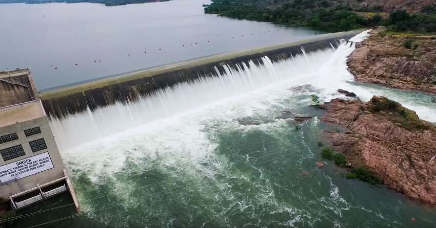 Tracey Osment, a Texas videographer, flew his drone over Central Texas' Highland Lakes from May 31 through June 2, 2016 as Inks Lake topped over its spillway.