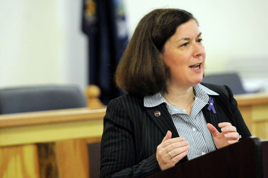 Saratoga County District Attorney Karen Heggen speaks during a news conference on Wednesday, Oct. 28, 2015, at Stillwater Town Hall in Stillwater, N.Y. The Stillwater Police Department has been collecting donated cell phones, and programming them for 911 calls, for victims of domestic violence since 2003. Since then, local advocacy groups have received nearly 4,400 phones for victims. (Cindy Schultz / Times Union) Photo: Cindy Schultz / 00033955A