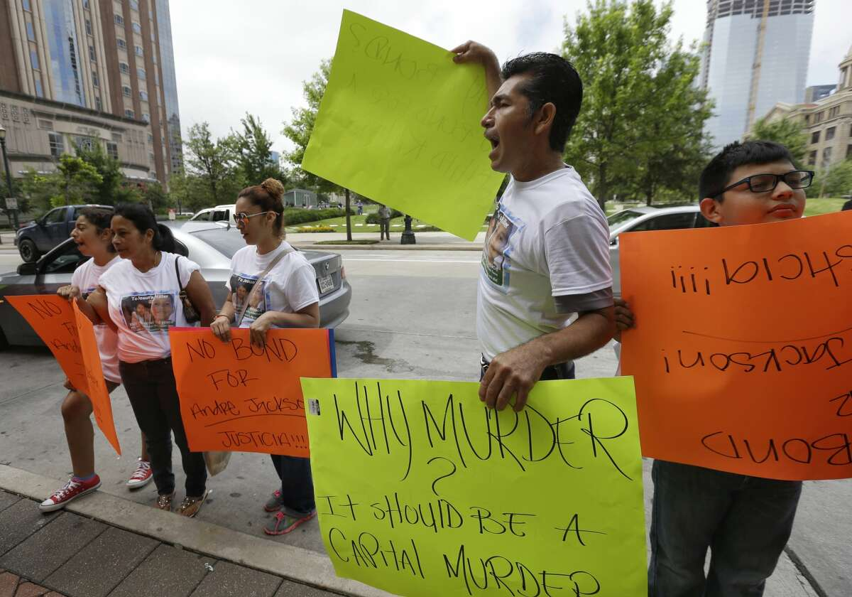Supporters of the family of Josue Flores protest outside Criminal Courthouse, 1201 Franklin, Monday, June 6, 2016 after the court appearance of Andre Timothy Jackson, who is accused of stabbing death of 11-year-old Josue Flores. ( Melissa Phillip/ Houston Chronicle)