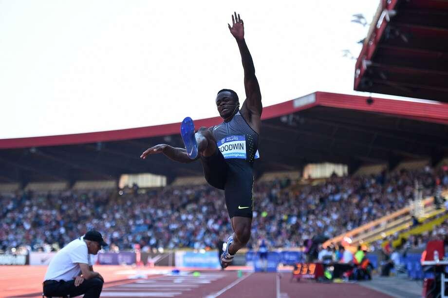 US athlete Marquise Goodwin competes in the men's long jump during the 2016 IAAF Birmingham Diamond League athletics meeting at Alexander Stadium in Birmingham on June 5, 2016. / AFP PHOTO / BEN STANSALLBEN STANSALL/AFP/Getty Images Photo: AFP/Getty Images