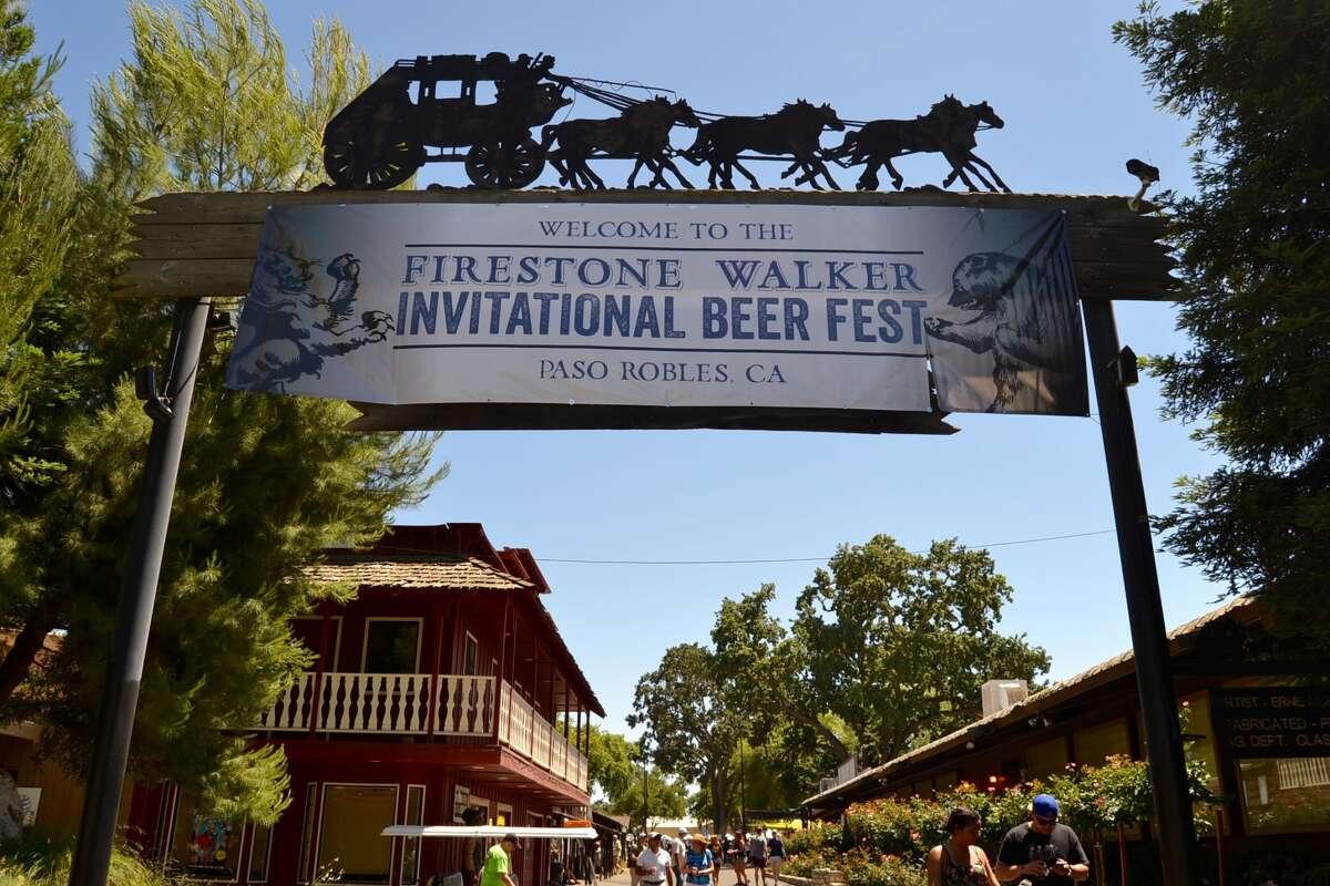 A welcome sign greet guests entering the Firestone Walker Invitational Beer Festival on June 4, 2016.