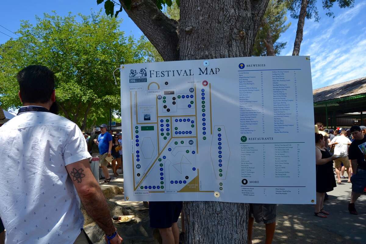 A map guides guests to brewers' tents atthe Firestone Walker Invitational Beer Festival on June 4, 2016.