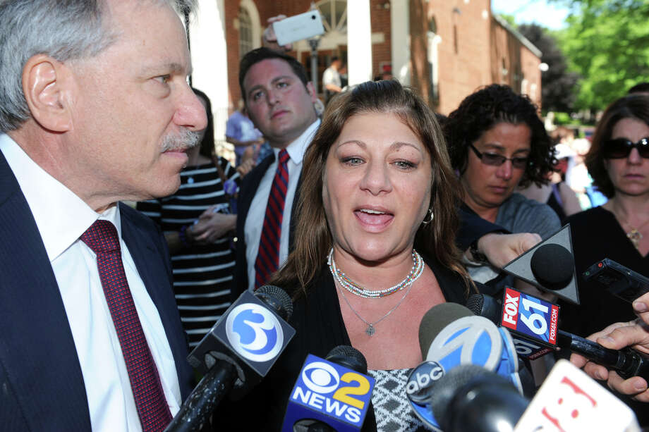 Donna Sanchez, mother of Maren Sanchez, speaks in front of Milford Superior Court following the sentencing of Christopher Plaskon in Milford, Conn. June 6, 2016. Plaskon was sentenced to 25 years in prison for the 2014 murder of Maren Sanchez at Jonathan Law High School, where the two were classmates. Sanchez is seen here with her attorney, David Golub. Photo: Ned Gerard / Hearst Connecticut Media / Connecticut Post