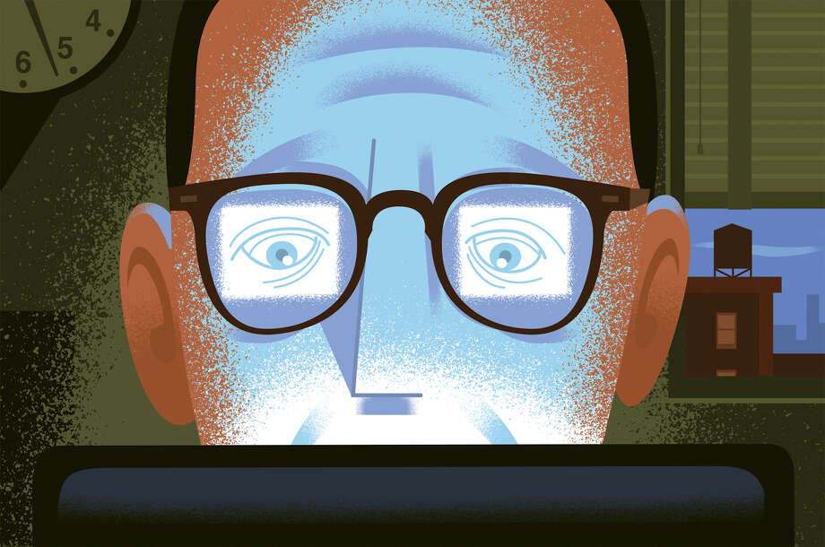 Blurred or double vision, as well as burning, itching, dryness and redness may be a result of computer vision syndrome, a condition that is a risk for who spend three or more hours a day in front of a computer. Photo: Paul Rogers /New York Times / NYTNS