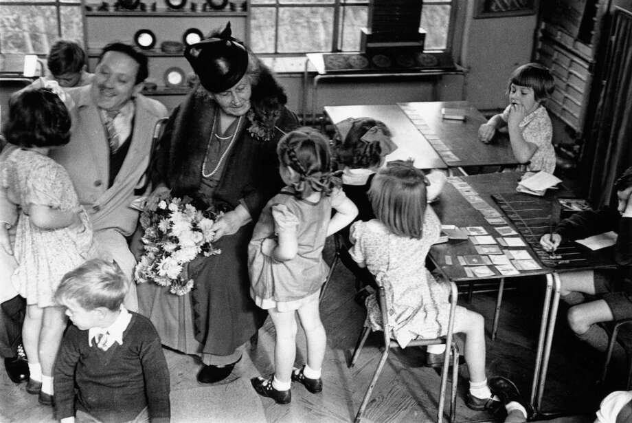 Nov. 2, 1946: Maria  Montessori visits a classroom in Acton, London. Photo: Kurt Hutton, Kurt Hutton / Picture Post / Getty Images / This content is subject to copyright.