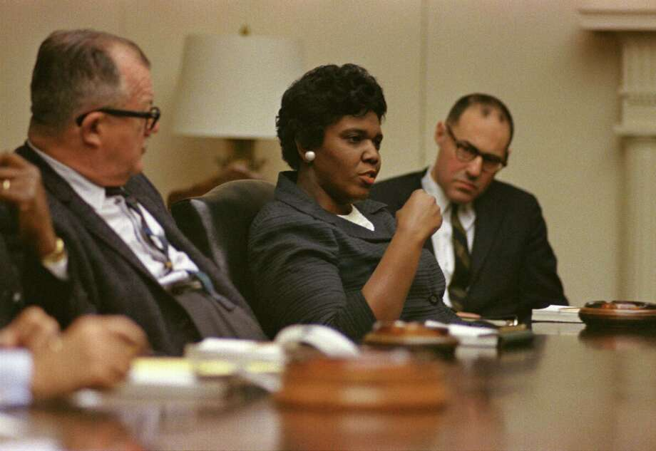FILE - An undated photograph of Texas State Senator Barbara Jordan in a meeting at the White House in Washington D.C. A state bill aims to name the part of Texas 288 between Loop 610 and Almeda Genoa Road after Jordan. Photo: LBJ Library/ Yoichi Okamoto / handout