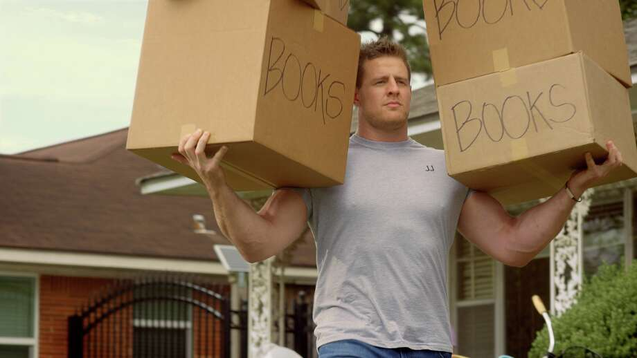 "Houston Texans defensive end J.J. Watt is shown carrying boxes during a commercial for Reliant's ""first-month free"" campaign. In the commercial, he effortlessly carries a sofa by himself and lugs boxes full of books to his one-man moving van. Reliant does offer moving tips, check them out at www.reliant.com, click on ""moving tips."" Photo: GLP Creative"