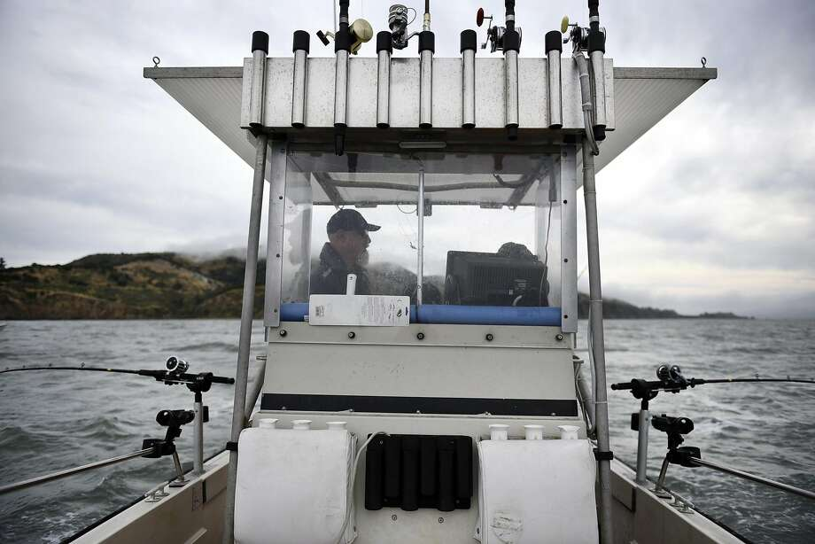 Steve Clark of El Sobrante looks out from the captain's cockpit while fishing for California halibut near Angel Island on San Francisco Bay. Photo: Michael Short, Special To The Chronicle
