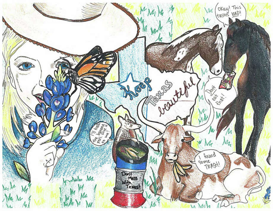 """Fifth-grader Fernanda Nunoz-Flores' winning artwork will be featured in the 2017 """"Don't Mess with Texas"""" litter-prevention calendar. Photo: Courtesy Of Keep Texas Beautiful"""
