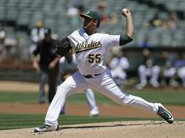 Oakland Athletics pitcher Sean Manaea works against the Minnesota Twins in the first inning of a baseball game Wednesday, June 1, 2016, in Oakland, Calif. (AP Photo/Ben Margot)