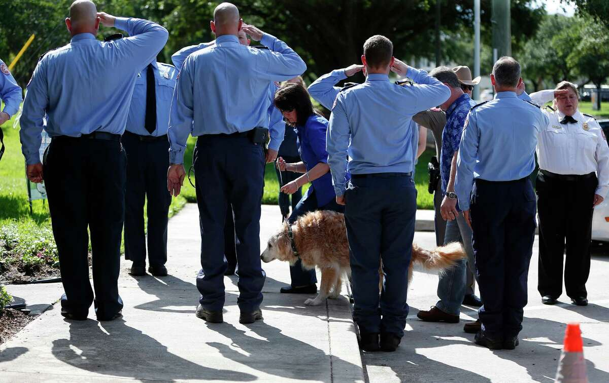 Bretagne, a 16-year-old golden retriever, and the last surviving search and rescue dog from 9/11, is walked, by her handler Denise Corliss, past a flank of members of the Cy-Fair Volunteer Fire Department, as she was brought into the Fairfield Animal Hospital, Monday, June 6, 2016, in Cypress, to be euthanized.