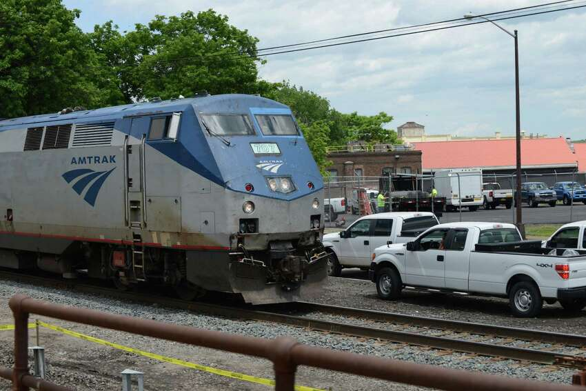 An Amtrak passenger train from Schenectady heads down the line near Broadway and North Pearl Street where work has begun on adding a second track on Monday, June 6, 2016, in Albany, N.Y. The second track between Albany and Schenectady will remove a bottleneck on Amtrak's Empire Corridor connecting New York City and Buffalo. (Will Waldron/Times Union)