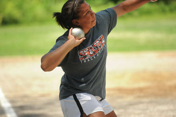 Shelton High School's Samantha Stevens wins the shot put event at the State Open track championships at New Britain Stadium in New Britain, Conn. on Monday, June 6, 2016.