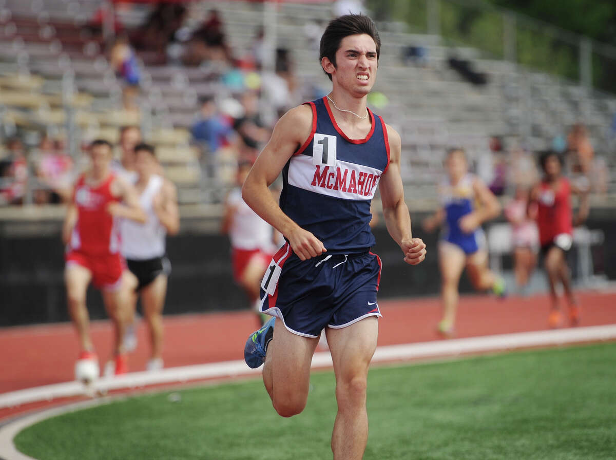 Brien McMahon's Eric VanDerEls races to a state record 4:08.42 in the 1600 meters at the State Open track championships at New Britain Stadium in New Britain, Conn. on Monday, June 6, 2016.