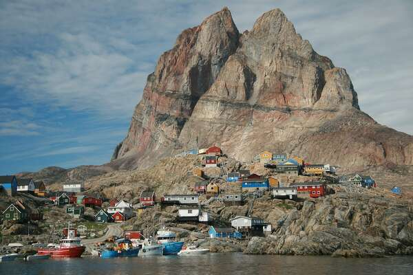 Uummannaq, a settlement 400 miles north of the Arctic Circle in western Greenland, is named for its heart-shaped mountain.