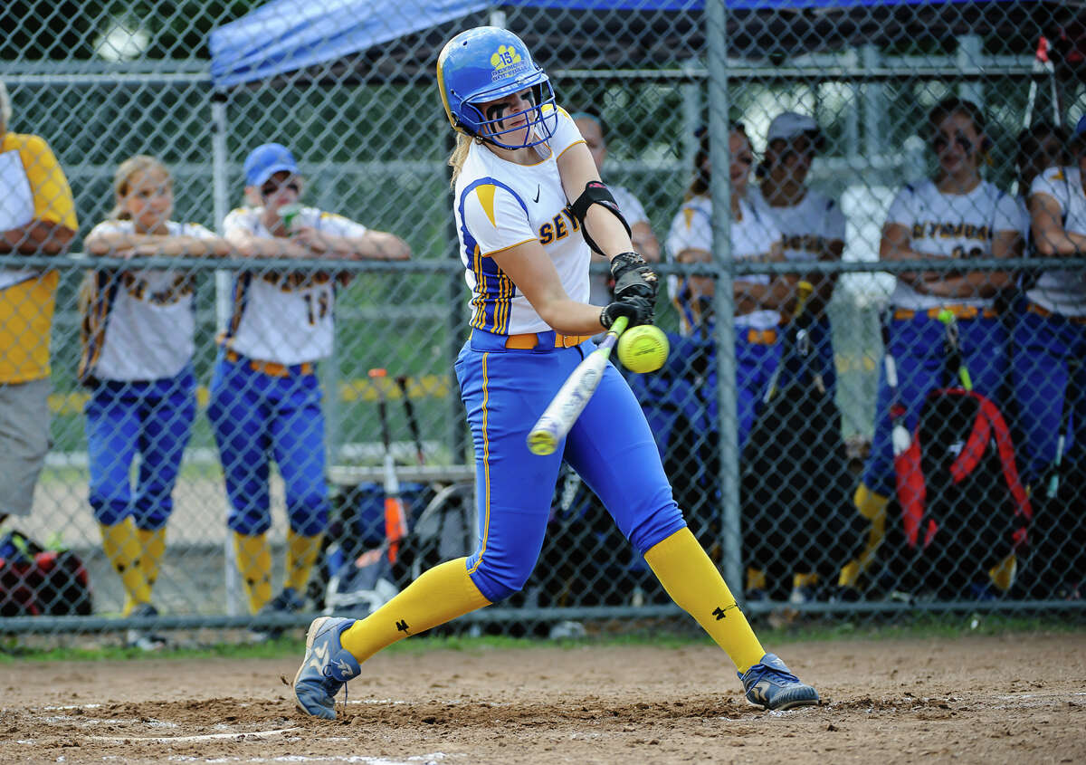 Seymour pitcher Raeanne Geffert gets a hit during Class M semi-final against Stonington at the Dunn Sports Complex in Meriden, Conn. on Monday June 6, 2016. Seymour advanced to the Class M finals after beating Stonington 10-1.