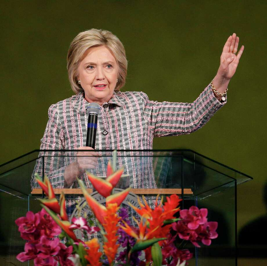 Democratic presidential candidate Hillary Clinton speaks at the Greater St. Paul Church, Sunday, June 5, 2016, in Oakland, Calif. (AP Photo/John Locher) ORG XMIT: CAJL104 Photo: John Locher / Copyright 2016 The Associated Press. All rights reserved. This m