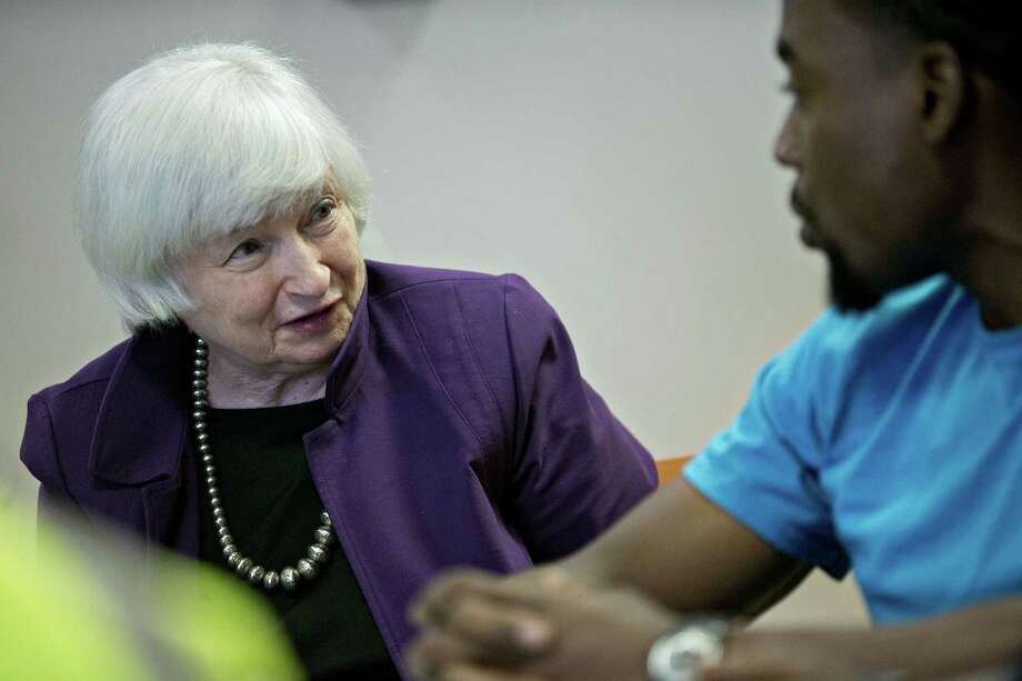 Federal Reserve Chair Janet Yellen speaks Monday during a roundtable discussion with a West Philadelphia Skills Initiative workforce development program participant in Philadelphia. Photo: Andrew Harrer / © 2016 Bloomberg Finance LP
