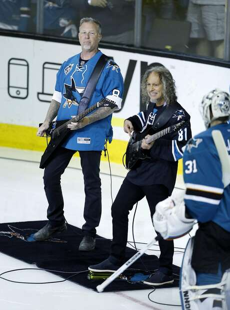 Metallica's James Hetfield and Kirk Hammett perform the National Anthem before San Jose Sharks 3-1 loss to Pittsburgh Penguins in Game 4 of Stanley Cup Final at SAP Center in San Jose, Calif., on Monday, June 6, 2016. Photo: Scott Strazzante, The Chronicle