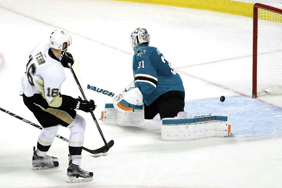 SAN JOSE, CA - JUNE 06:  Martin Jones #31 of the San Jose Sharks allows a goal to Eric Fehr #16 of the Pittsburgh Penguins in the third period of Game Four of the 2016 NHL Stanley Cup Final at SAP Center on June 6, 2016 in San Jose, California.  (Photo by Christian Petersen/Getty Images) ORG XMIT: 643398319 Photo: Christian Petersen / 2016 Getty Images
