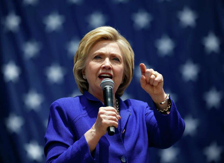 Democratic presidential candidate Hillary Clinton speaks at a rally, Monday, June 6, 2016, in Lynwood, Calif. (AP Photo/John Locher) Photo: John Locher, STF / Copyright 2016 The Associated Press. All rights reserved. This material may not be published, broadcast, rewritten or redistribu