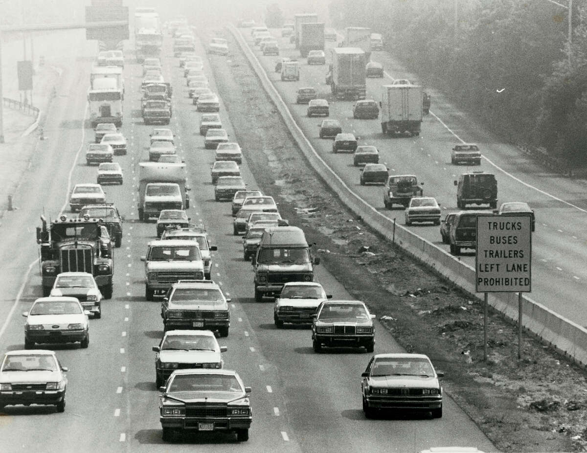 In 1988, smog dulls the view along the Connecticut Turnpike in Darien by the eastbound rest area. There has been a steady improvement in reducing ozone pollution. Since 1996, there have been 27.5 less ozone days in Fairfield County, according to the American Lung Association.