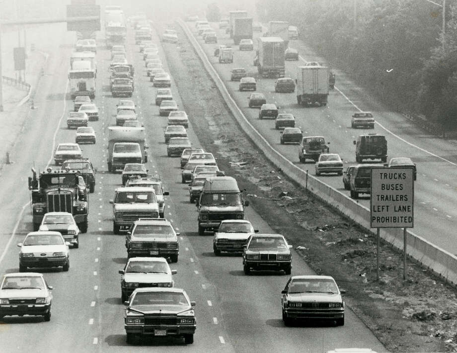 In 1988, smog dulls the view along the Connecticut Turnpike in Darien by the eastbound rest area. There has been a steady improvement in reducing ozone pollution. Since 1996, there have been 27.5 less ozone days in Fairfield County, according to the American Lung Association. Photo: Tom Ryan / ST