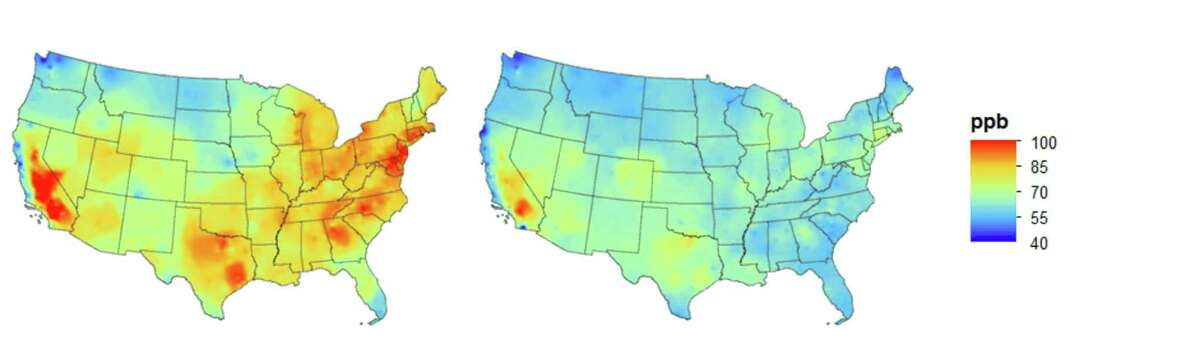 Maps shows the highest annual May-September eight-hour ozone concentration in 2000-2002, left, and 2013-2015.