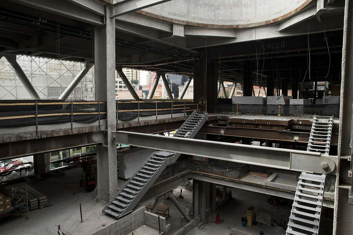 The Transbay Transit Center, currently under construction, is seen during a tour in San Francisco, Calif., on Saturday, June 4, 2016.
