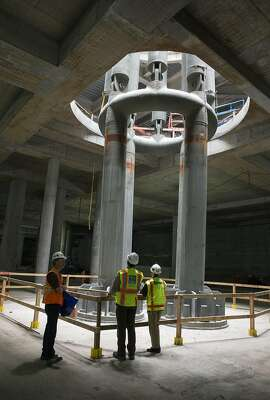 A light column is seen from the train level of the Transbay Transit Center during a tour of the building currently under construction in San Francisco, Calif., on Saturday, June 4, 2016.