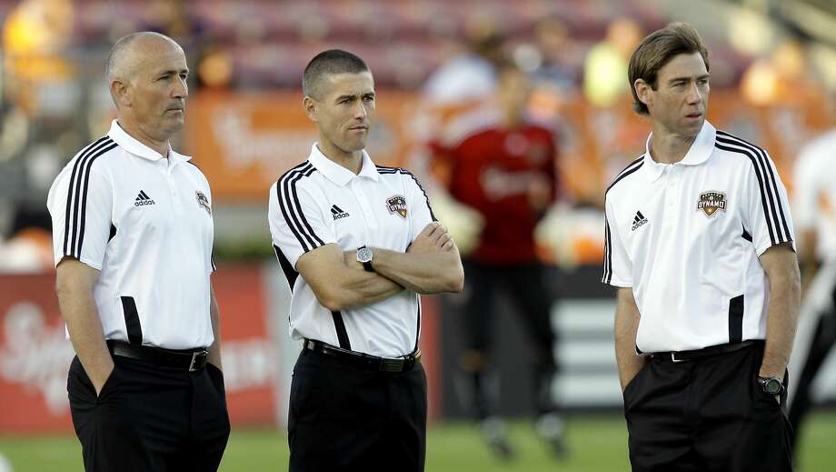 HOUSTON, TX - MARCH 19:  (L - R) Houston Dynamo head coach Dominic Kinnear, assistant coach Wade Barrett, and assistant coach Steve Ralston watch warmups before a game against the Philadelphia Union at Robertson Stadium on March 19, 2011 in Houston, Texas.  (Photo by Bob Levey/Getty Images) Photo: Getty Images
