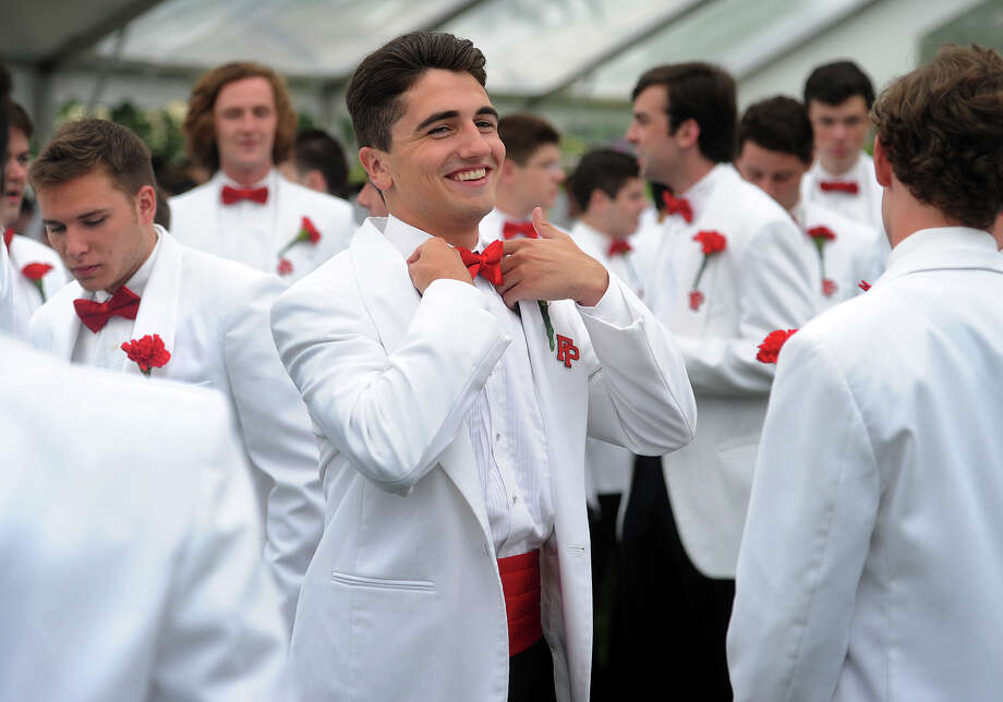 Connor Bercik, of Fairfield, and his fellow graduates prepare to march in to the Fairfield College Preparatory School graduation ceremony at Alumni Hall at Fairfield University in Fairfield, Conn. on Sunday, June 5, 2016. Photo: Brian A. Pounds / Hearst Connecticut Media / Connecticut Post