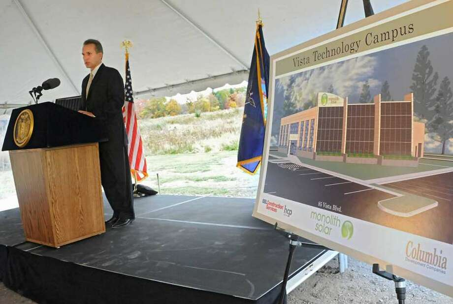 Mark Fobare, CEO of Monolith Solar, at the company's 2014 announcement that it would move its headquarters to Slingerlands. The company says it has lined up financing through Berkshire Bank and expects to break ground in 15 to 20 days.  (Lori Van Buren / Times Union)